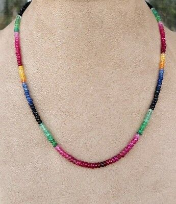 """Ebay Precious Gemstone 100% Natural Multi Sapphire Faceted Bead Necklace 18"""" M21"""