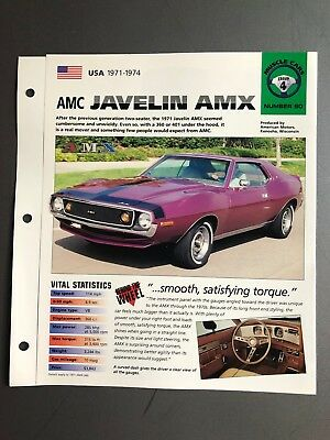 1971 - 1974 AMC Javelin AMX Coupe IMP Hot Cars Spec Sheet Folder Brochure L@@K