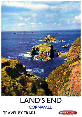 Land's End Cornwall VINTAGE RAILWAY POSTER Train Travel Tourism Wall ART PRINT