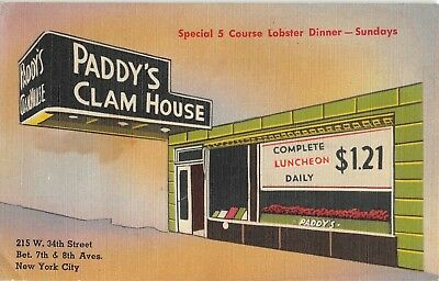 1950s NEW YORK CITY PADDY'S CLAM HOUSE BROILED LOBSTER COLORFUL LINEN POSTCARD