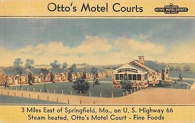 1940s ROUTE 66 OTTO'S MOTEL COURTS SPRINGFIELD MO STEAM HEAT FOOD LINEN POSTCARD
