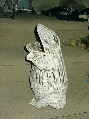 "Vintage Large White Wicker Rattan 17"" FROG TOAD Basket w Marble Eyes From 1960's"