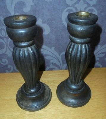 Vintage Wooden Hand Made Pair Of Candlesticks
