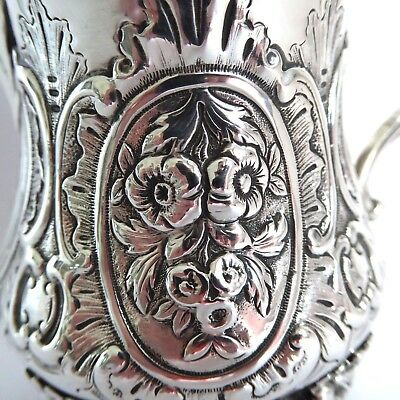 Stunning Victorian Floral Repousse Silver Cream Jug Hm 1863 On Raised Supports
