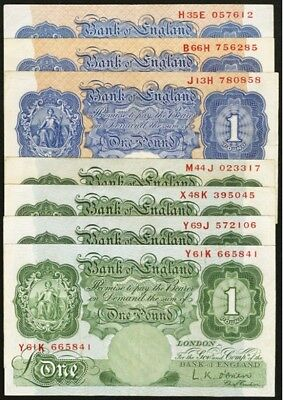 Great Britain Bank of England £1 (1 Pound Banknotes), Lot of (7), VF/XF