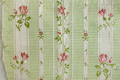 Antique fragment 18th century pink rosebud green striped silk from France