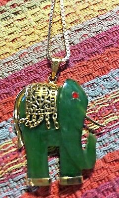 Gorgeous Jade & Silver Elephant Pendant on Sterling Silver Chain NR