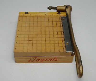 "Vintage Ingento No.1 Paper Cutter Photo Postcard Trimmer 6"" Small Wooden Block"