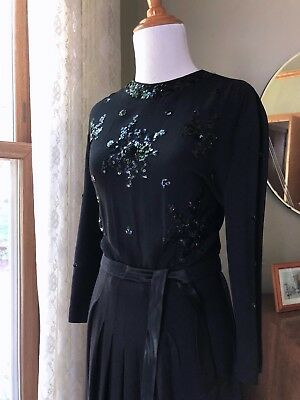 40s Dress Black Crepe Sequins Silk Accents Evening Gown Dress Cocktail 1940s VTG