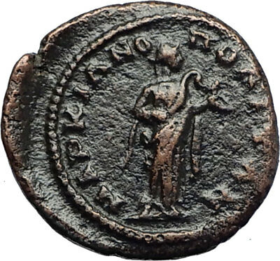 ELAGABALUS Marcianopolis Authentic Ancient Roman Coin HYGEIA w SERPENT i70778