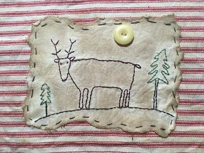 Primitive Country Stitchery Home Decor UNFRAMED Embroidery Reindeer