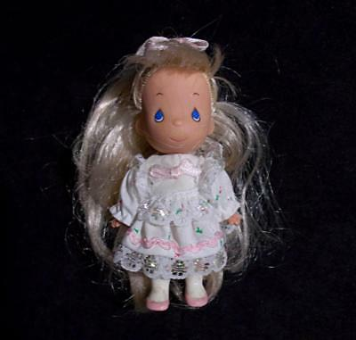 """Precious Moments Mini Doll Sparkly Lace Party Dress 4"""" Rose Art 1996"""
