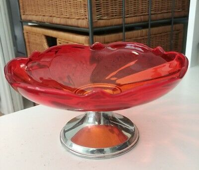 Swirl Glass Empire Pewter Weighted 870 Red Candy Compote Raised Base Vintage MCM