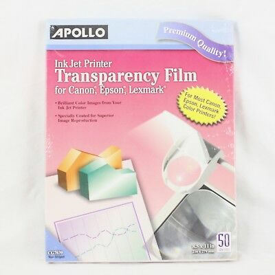 "Apollo Inkjet Printer Transparency Film 50 Sheets 8.5"" x 11"" CG7039 NEW SEALED"