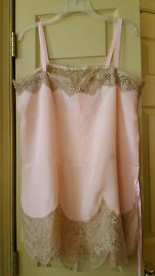 "Antique Teddy Lingerie  Pink Beige 6 ""Lace  Trim Sz. L   NWOT"