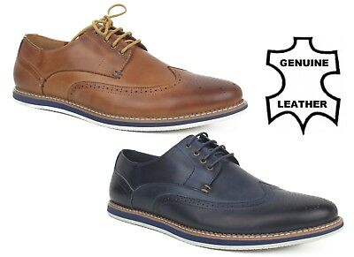 Mens Leather Navy Brown Tan Oxford Shoes Classic Brogue Lace Up Smart Casual Pro