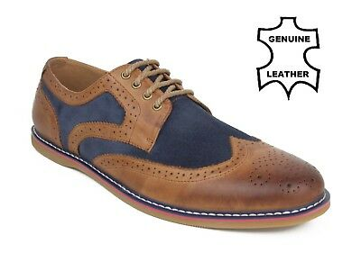 Mens Leather Brown Navy Suede Oxford Shoes Classic Brogue Lace Up Smart Casual