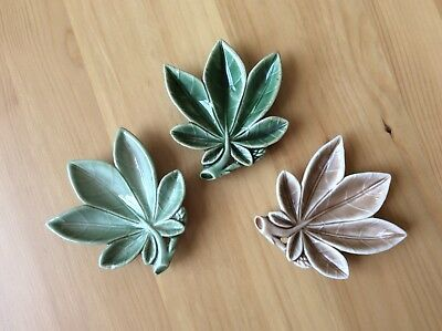 Collection of 3 x Wade pottery ceramic leaf dish green and brown