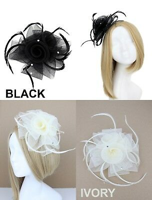 Black Ivory Diamante Feather Fascinator Clip Brooch Wedding Races Ladies Day Out