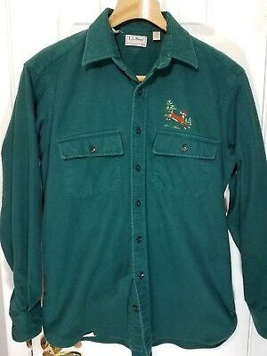 Vtg LL BEAN Chamois Cloth Shirt Embroidered Deer Teal Men's 16.5 Made in USA C18