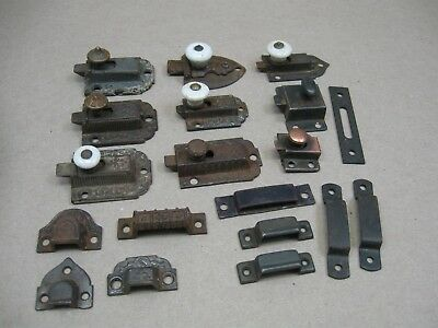 Antique Lot Cast Iron Steel Thumb Latches Locks Catches Cabinet Box Lid Door