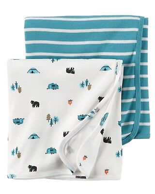 NWT Carter's Boys 2pc Camping Bear Print Swaddle Blankets