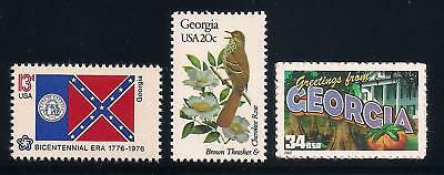 Georgia - State Flag, Bird, Flower - Set Of 3 U.s. Stamps - Mint Condition