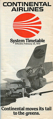 Continental Airlines February 23, 1975 System Timetable