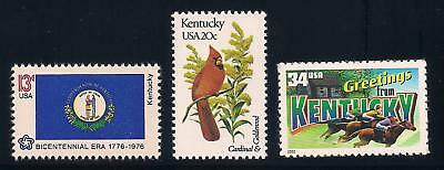 Kentucky - State Flag, Bird, Flower - Set Of 3 U.s. Stamps - Mint Condition