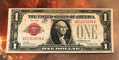 1928 $1 Red seal,  legal tender, US Note ,  VF