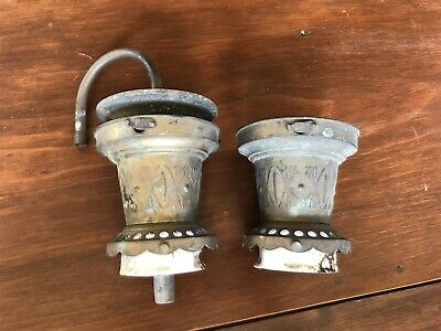 Pair of Antique Brass Gas Light, Lamp, or Ceiling Fixture Parts