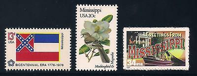 Mississippi - State Flag, Bird, Flower - Set Of 3 U.s. Stamps - Mint Condition