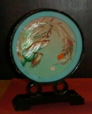 Vintage Chinese Lacquer And Carved Mother Pearl Phoenix Display Good Condition
