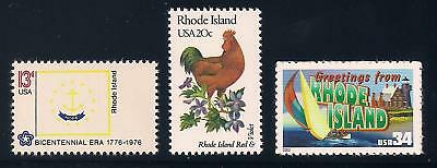 Rhode Island - State Flag, Bird, Flower - Set Of 3 U.s. Stamps - Mint Condition