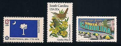 South Carolina - State Flag, Bird Flower - Set Of 3 U.s. Stamps - Mint Condition