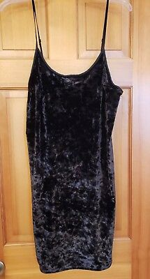 Victoria's Secret Size M/l Black Velvet Slip/nightgown Nwt!