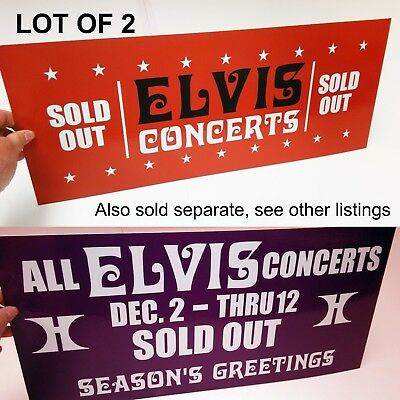 Lot of 2 ELVIS SOLD OUT VEGAS '76 Hilton Hotel Box Office Banner Sign Pennant
