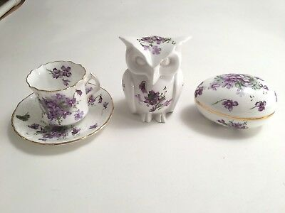 Hammersley England Bone China Victorian Violets Owl Jar/Tea Cup/Egg Trinket Box