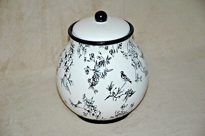 NONNI'S Ceramic Biscotti Cookie Canister   Hand Painted w/ Black Bird Design