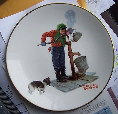 "Norman Rockwell Chilling Chore 10 1/2"" Plate 1977 Limited Edition Free Shipping"