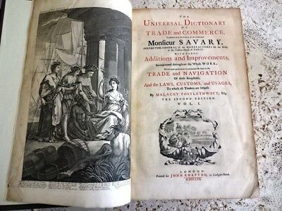 1757 Postlethwayt Universal Dictionary Trade And Commerce Atlas