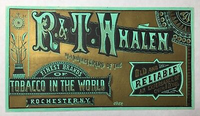 R. & T. Whalen Tobacco Advertising Trade Card, Rochester NY