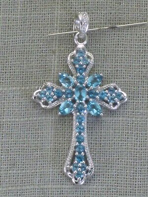 Vintage JC Sterling Silver Blue Topaz Cross Enhancer Pendant  925 Fancy Large