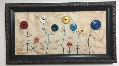 Primitive Country Stitchery Home Decor Framed Embroidery And Vintage Buttons
