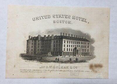 United States Hotel Advertising Paper Boston MA Lithographic