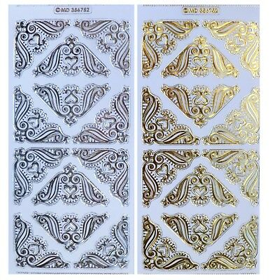 EMBOSSED HEART CORNERS Peel Off Stickers Gold or Silver on Clear Sticker