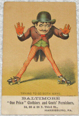 Baltimore One Price Store Harrisburg PA Victorian Trade Card Roller Skating