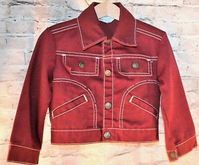 Vintage Towncraft JcPenney Red Denim Jacket Boys Size 6 Button Down 2 Pockets