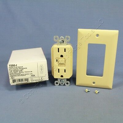 P&S Trademaster® Ivory LIGHTED GFCI Receptacle Duplex GFI Outlet 15A 125V 1595-I