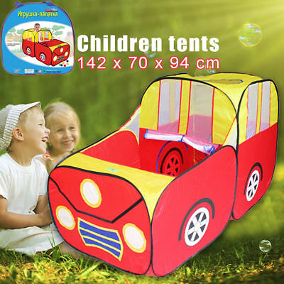 Red Sport Car Kids Play Tent House Play Hut Children Ocean Ball Pit Game Pool US